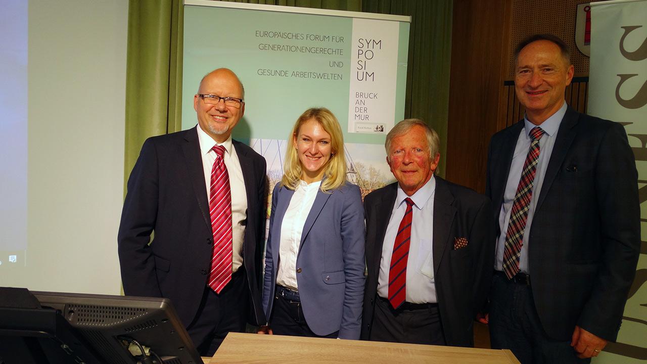v.l.n.r. Michael Kornhäusel (Business Doctors), Dr. Sylvia Peißl (AUVA), F.K. Daublebsky (Business Doctors), Mag. Bernd Bruckmann (Qiquadrat)