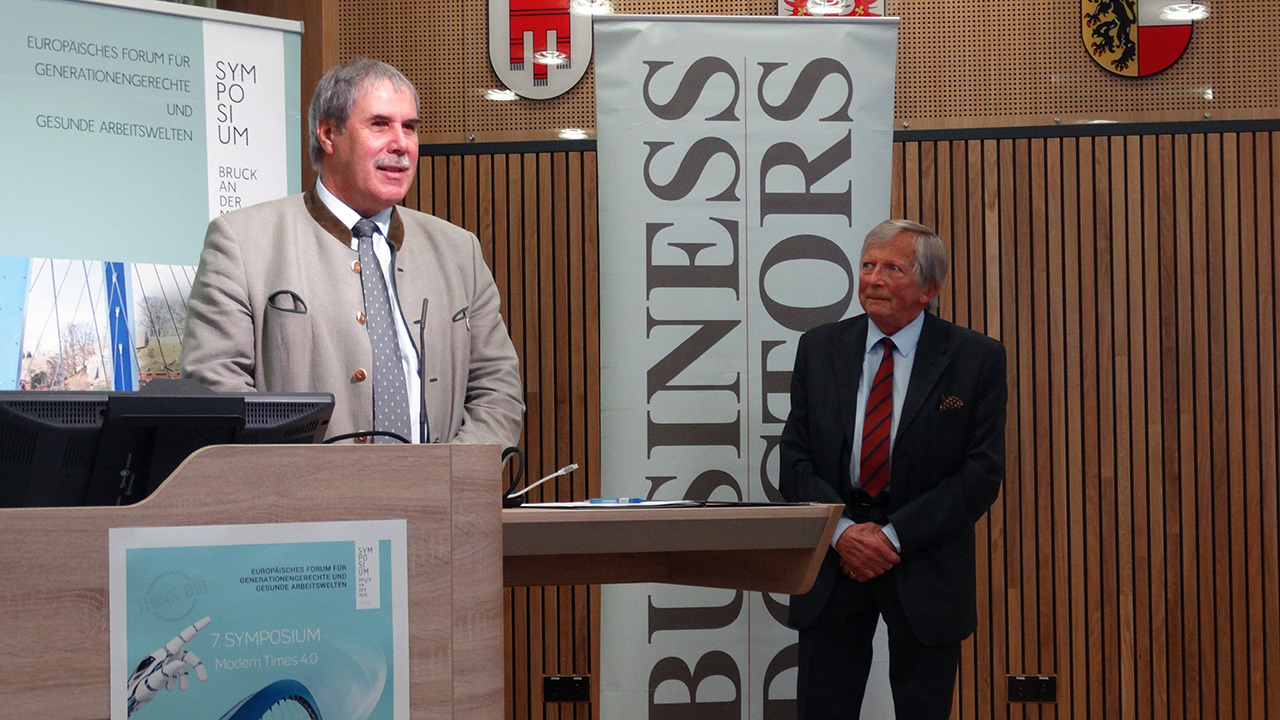 v.l.n.r. DI Anton Aldrian (Dir. HBLA Bruck), F.K. Daublebsky (Business Doctors)